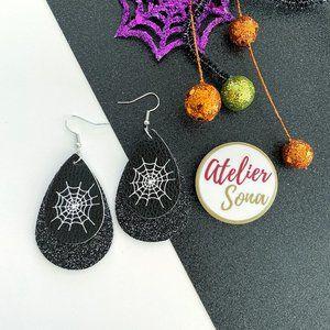 Sparkly Spider Web Tear Drop Earrings - Black